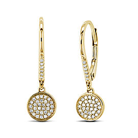 Leverback Pave Diamond Disk Dangle Earrings 10k Gold - yellow-gold