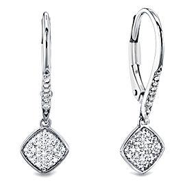 Leverback Pave Diamond Earrings 10k Gold - white-gold