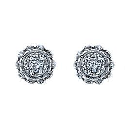 Cluster Diamond Earrings 10k White Gold