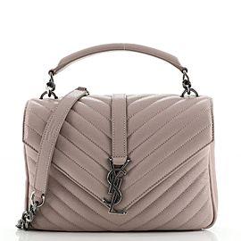 Saint Laurent Classic Monogram College Bag Matelasse Chevron Leather Medium