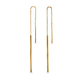 1pt Threader Diamond Bar and Chain Earrings 14k Yellow Gold