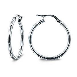14k Gold Hinged Hoop Earrings (20mm x 2mm) - white-gold