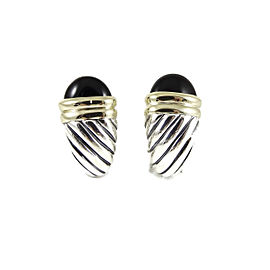 David Yurman Sterling Silver 14K Yellow Gold Black Onyx Waverly Earrings