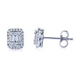 Diamond Baguette Cluster Stud Earrings 10k Gold