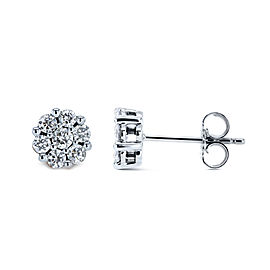 1/2ct.tw Diamond Cluster Round Earrings 10k Gold - white-gold