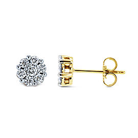 1/2ct.tw Diamond Cluster Round Earrings 10k Gold - yellow-gold