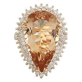 14.42 Carat Morganite 14K Rose Gold Diamond Ring