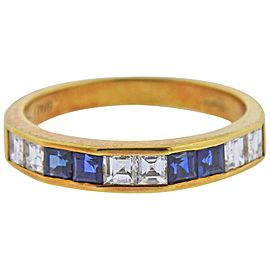 Gold Diamond Sapphire Half Band Ring