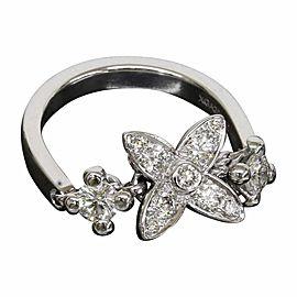 Louis Vuitton 18K White Gold Monogram Enhanced Diamond Ring Size 5.5