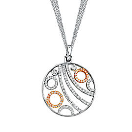 Simon G TP105 18K Rose and White Gold 0.59 Ct Diamond Circle Pendant Chain Necklace