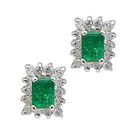 18K White Gold Emerald Stud Earrings With Halo and Screw Backs