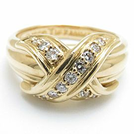 TIFFANY&CO 18K Yellow Gold Diamond Signature Ring