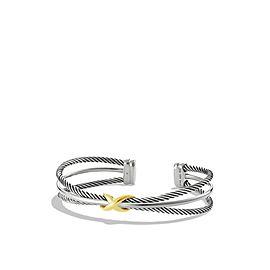 David Yurman 18K Yellow Gold And Sterling Silver X Crossover Cuff Bracelet