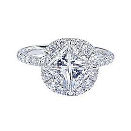 18K White Gold 3.03 Carat F SI1 Gia Certified Princess Cut Diamond Engagement Ring