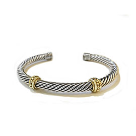 David Yurman Silver & Yellow Gold 5mm Cable Classics Two Station Bracelet