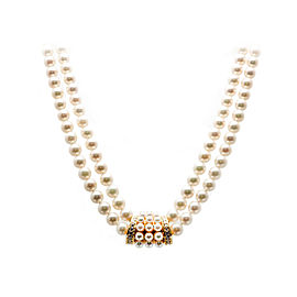 Mikimoto 18K Yellow Gold with Double Cultured Pearl Diamond Necklace