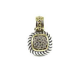 David Yurman Sterling Silver 18K Yellow Gold .25tcw Small Square Pave Diamond Enhancer
