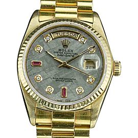 Rolex Day-Date 18038 18K Yellow Gold Custom Meteorite Dial with Diamonds and Ruby Automatic Vintage 36mm Mens Watch