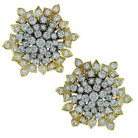David Webb Platinum & 18K Yellow Gold Diamond Earrings