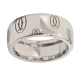 Cartier 18K White Gold Happy Birthday Wedding Wide Band Ring Size 7.5