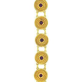 Castellani 18 Karat Yellow Gold Filigree Work with Amethyst Stones Bracelet