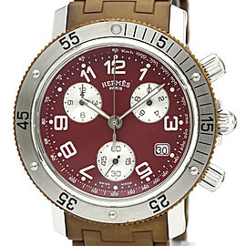 Polished HERMES Clipper Diver Chronograph Quartz Mens Watch CL2.918