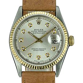 Rolex Datejust 1601 Stainless Steel and 18K Yellow Gold with Silver Diamond Dial Vintage 36mm Mens Watch