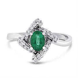 14k White Gold 1.20ct. Diamond & Green Emerald Twist Ring Size 7.25