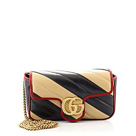 Gucci GG Marmont Flap Bag Diagonal Quilted Leather Super Mini
