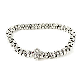 Roberto Coin 18K White Gold .26tcw Mini Appassionata Barrel Bracelet with Pave Diamond Clasp