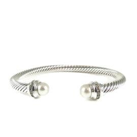 David Yurman Sterling Silver .20tcw 5mm Cultured Pearl Diamond Cable Classics Bracelet