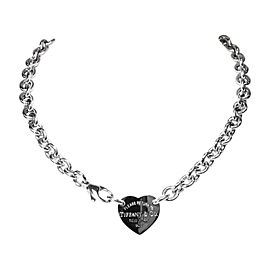 Tiffany & Co. Return to Tiffany 925 Sterling Silver Heart Tag Choker Necklace