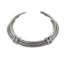 David Yurman Sterling Silver 14K Yellow Gold 3-Row Iolite Thoroughbred Cable Necklace