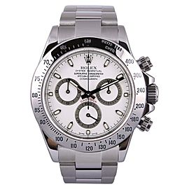 Rolex Daytona 116520 Stainless Steel White Dial 18K White Gold Bezel 40mm Mens Watch