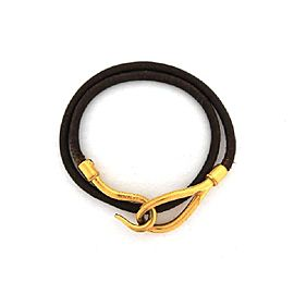Hermès Yellow Gold Tone Metal & Leather Double Wrap Jumbo Hook Bracelet