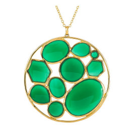 Ippolita 18K Yellow Gold and Dyed Green Agate Circle Pendant Necklace