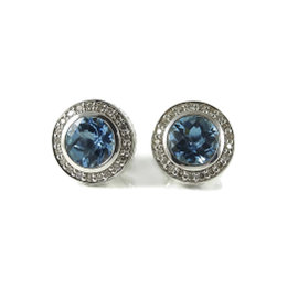 David Yurman Petite Cerise Sterling Silver with 0.35ct. Diamond and Blue Topaz Earrings
