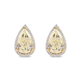 Platinum Yellow Diamond Pear Shaped Earrings