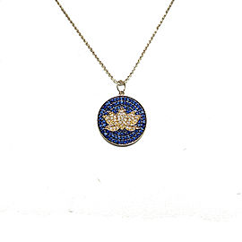 Sydney Evan 14K Yellow Gold with Sapphire & Diamond Lotus Pendant Necklace