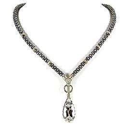 Lagos Glacier Teardrop Necklace Sterling Silver 18K Yellow Gold White Topaz Diamond