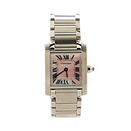 Cartier Tank Francaise Quartz Watch Stainless Steel with Mother of Pearl 20