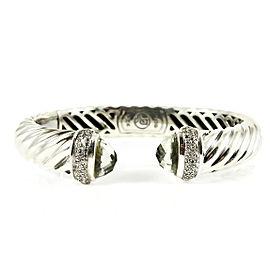 David Yurman Sterling Silver .48tcw 10mm Prasiolite Diamond Sculpted Cable Bracelet