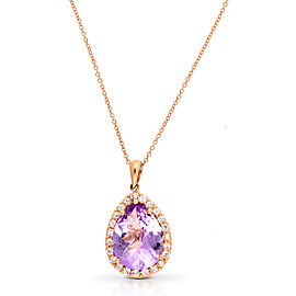Le Vian Certified Pre-Owned Cotton Candy Amethyst and Vanilla Sapphires Pendant set in 14k Strawberry Gold