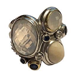 David Yurman Sterling Silver & 18K Yellow Gold with Multiple Gemstones Mosaic Ring Size 6