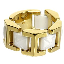 Versace 18K Yellow Gold White Ceramic Design Band Ring Size 7.25