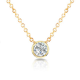 Diamond Solitaire 1/3 Carat Bezel Necklace in 14K Gold - yellow-gold
