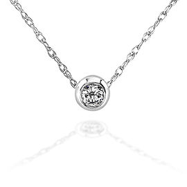 "Mini Diamond Solitaire Bezel Necklace in 14K Gold (18"" Chain) - white-gold"