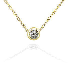 "Mini Diamond Solitaire Bezel Necklace in 14K Gold (18"" Chain) - yellow-gold"