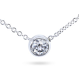 Diamond Bezel Solitaire Pendant 3/4 Carat in 14K White Gold