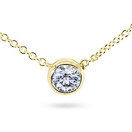 """Diamond Solitaire 1/6 Carat Bezel Necklace in 14K Gold (16"""" Chain) - yellow-gold"""